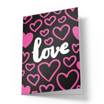 Pink Love Hearts Valentines Card