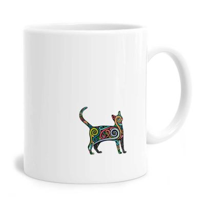 Black Cat Swirls Mug