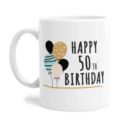 Balloons 50th Birthday Tea Coffee Mug
