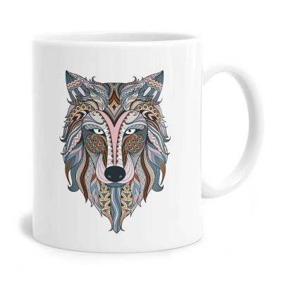 Patchwork Wolf Tea Coffee Mug