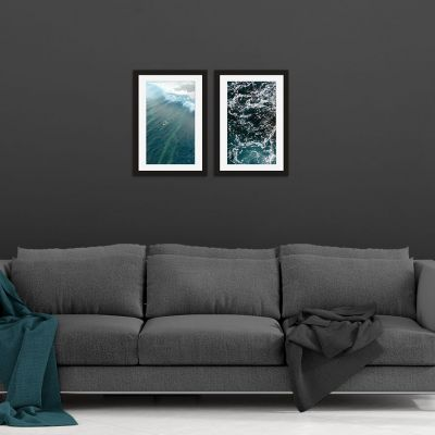 Aqua Green Wave Framed Print Set